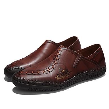 בגדי ריקוד גברים נעליים פורמליות עור אביב / סתיו נוחות נעליים ללא שרוכים שחור / צהוב / חום כהה / חתונה