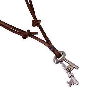 6bbeddf7de8b Hombre Collares con colgantes collar largo Piel Llaves Simple Marrón  Gargantillas Joyas Para Diario