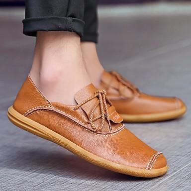 בגדי ריקוד גברים נעלי נוחות עור אביב / סתיו נעלי ספורט שחור / צהוב / חום