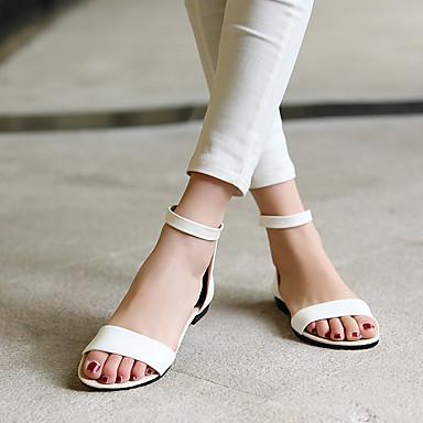 בגדי ריקוד נשים PU קיץ נוחות סנדלים שטוח פתוח בבוהן לבן / שחור