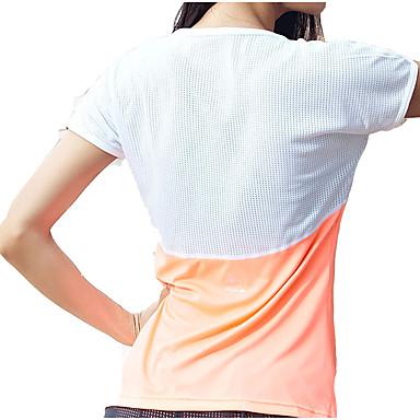 בגדי ריקוד נשים רשת / טלאים טישרט לריצה - לבן, שחור, כתום ספורט ספנדקס צמרות יוגה, כושר וספורט, חדר כושר שרוולים קצרים לבוש אקטיבי ייבוש מהיר, נשימה, דק מאוד גמישות גבוהה