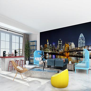 ארט דקו 3D קישוט הבית עכשווי עיר / דגל וול כיסוי, בַּד חוֹמֶר דבק נדרש צִיוּר קִיר, Wallcovering חדר