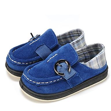 בנים נעליים עור / בד אביב נוחות / נעליים מגולפות שטוחות אבזם / סרט גומי ל כחול כהה / ירוק בהיר