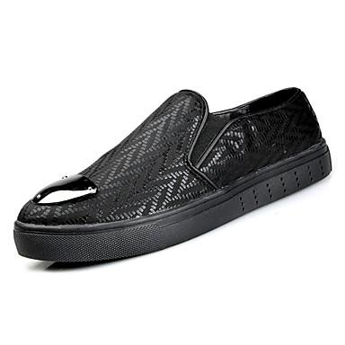 בגדי ריקוד גברים PU סתיו נוחות נעליים ללא שרוכים שחור / כסף