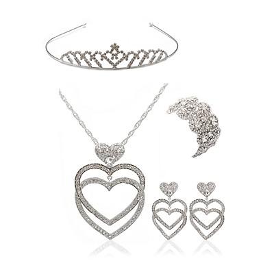 בגדי ריקוד נשים סט תכשיטים - יהלום מדומה לב ארופאי, אופנתי לִכלוֹל נזרים סטי תכשיטי כלה לבן עבור חתונה Party