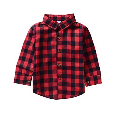 חולצה ניילון אביב סתיו שרוול ארוך יומי חגים דפוס משובץ יוניסקס פשוט יום יומי אודם