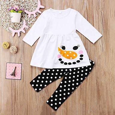 סט של בגדים כותנה אביב סתיו שרוול ארוך ליציאה חגים אחיד מנוקד דפוס בנות חמוד פעיל לבן