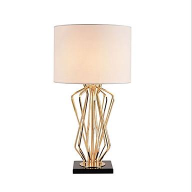 פשוט דקורטיבי מנורת שולחן עבור חדר שינה מתכת לבן / שחור
