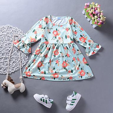 שמלה ניילון אביב קיץ שרוול ארוך יומי חגים פרחוני דפוס הילדה של חמוד פעיל ירוק בהיר