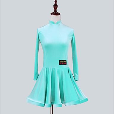 ריקוד לטיני שמלות בנות הצגה שיפון קטיפה סלסולים שרוול ארוך שמלה