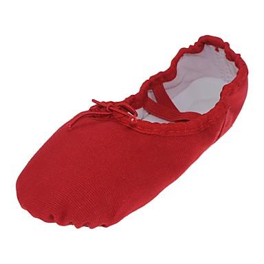 נעלי בלט קנבס שטוחות שטוח מותאם אישית נעלי ריקוד אדום / בבית