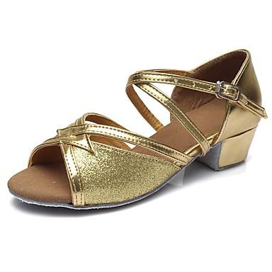 נעליים לטיניות נצנצים / דמוי עור סנדלים / עקבים אבזם עקב עבה מותאם אישית נעלי ריקוד זהב