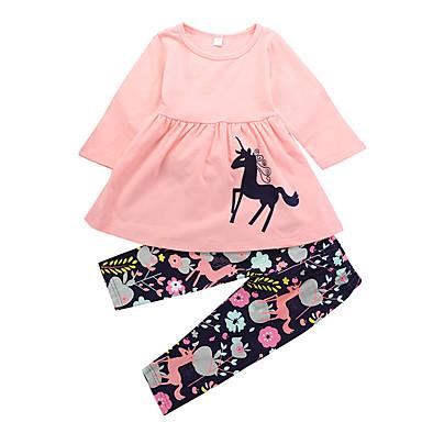 סט של בגדים כותנה אביב סתיו שרוול ארוך יומי חגים פרחוני דפוס הדפס חיות בנות חמוד יום יומי ורוד מסמיק