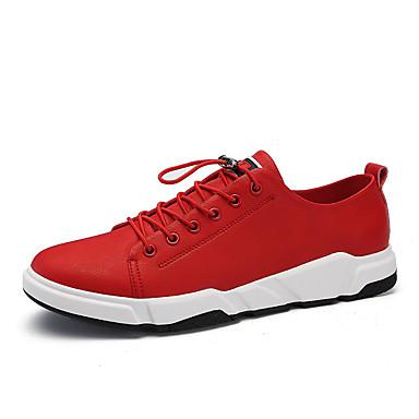 בגדי ריקוד גברים אור סוליות PU אביב נוחות נעלי אתלטיקה ריצה / טיפוס / רכיבת אופניים לבן / שחור / אדום / הליכה