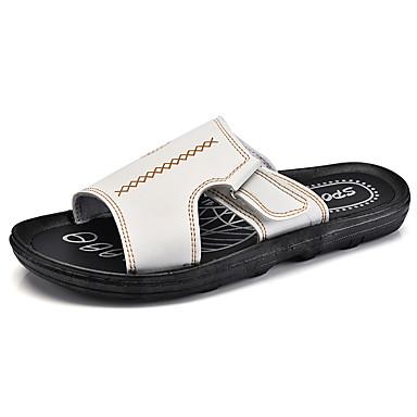 男性用 靴 合成マイクロファイバーPU 春 秋 コンフォートシューズ スリッパ&フリップ・フロップ のために カジュアル ホワイト ブラック Brown