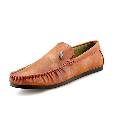 בגדי ריקוד גברים מוקסין PU אביב / סתיו נעליים ללא שרוכים שחור / אפור / חום