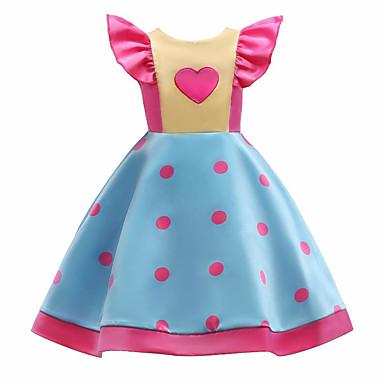 שמלה כותנה פוליאסטר אביב קיץ ללא שרוולים יומי ליציאה אחיד מנוקד פרחוני הילדה של חמוד פעיל פול