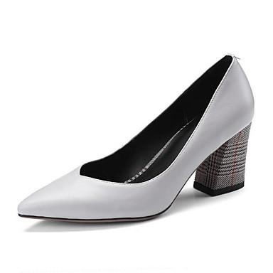 Mujer Zapatos Cuero de Napa Verano Confort Tacones Tacón Stiletto Blanco / Negro o6S81duu4