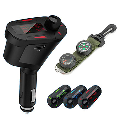T618 Car MP3 Player Wireless FM Transmitter Radio Modulator with USB SD Remote Control with Compass