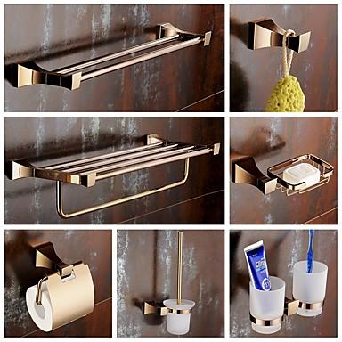 סט של אביזרים לאמבטיה מודרני פליז 7pcs - אמבטיה מחזיק מברשת שירותים מחזיק למברשת שיניים מדף רחצה סבוניה בר מגדל וו חלוק מחזיקים לנייר
