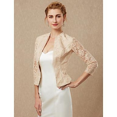 שרוול 4\3 תחרה חתונה / מסיבה\אירוע ערב כיסויי גוף לנשים עם מעיל\ז'קט