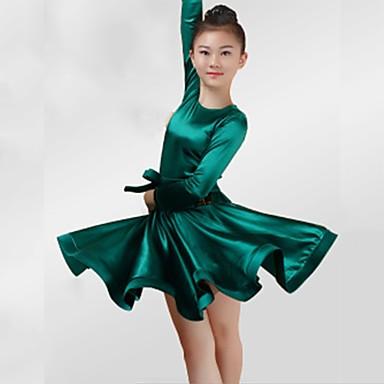ריקוד לטיני שמלות בנות הצגה ספנדקס אבנטים / סרטים סלסולים שרוול ארוך שמלה