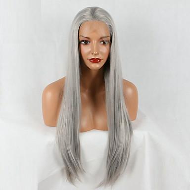 סינתטי תחרה פאות הקדמי גלי טבעי שיער סינטטי פאה אפרו-אמריקאית אפור פאה 20-40 אינץ' חזית תחרה אפור
