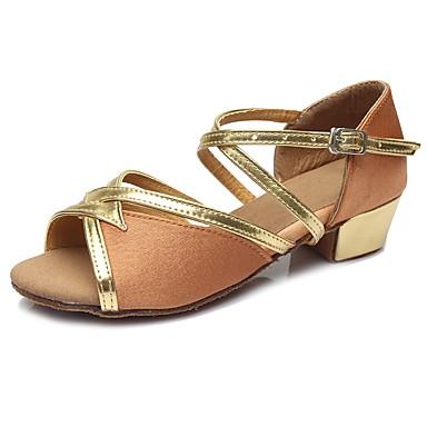 נעליים לטיניות נצנצים / דמוי עור סנדלים / עקבים אבזם עקב עבה מותאם אישית נעלי ריקוד חום כהה