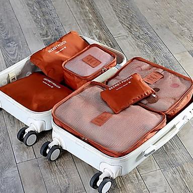 6 sæt Rejsetaske Rejsebagageorganisator Pakkeposer Vandtæt Støv-sikker Foldbar Holdbar Opbevaring under rejser Tøj BH Oxford-stof Rejse
