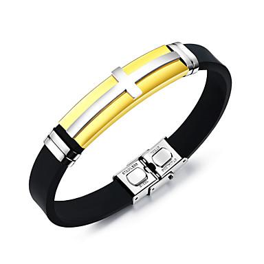 abordables Bracelet-Bracelet Jonc Bracelet ID Homme Croix latérale Acier inoxydable Croix Mode Bracelet Bijoux Dorée Noir Argent pour Quotidien Sortie