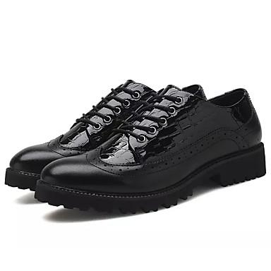 בגדי ריקוד גברים עור פטנט אביב / סתיו נוחות נעלי אוקספורד שחור / שחור אדום