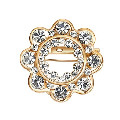 cheap Brooches-Women's Diamond Cubic Zirconia Brooches Zircon Statement Ladies Gothic Brooch Jewelry Gold For Wedding Gift