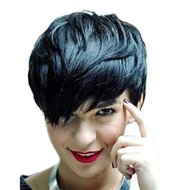 שיער ללא שיער שיער אנושי גלי טבעי פיקסי קאט חלק צד הוכן באמצעות מכונה פאה