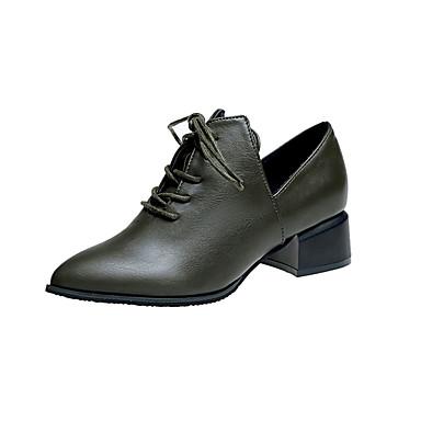 בגדי ריקוד נשים נעליים PU אביב נוחות נעלי אוקספורד עקב נמוך בוהן מחודדת שחור / ירוק