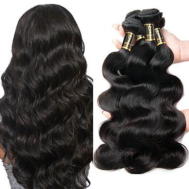 4 חבילות שיער פרואני Body Wave שיער בתולי טווה שיער אדם שוזרת שיער אנושי 8 א תוספות שיער אדם