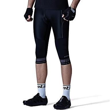 SANTIC Homens Calças 3/4 Para Ciclismo Moto Calças Sólido, Clássico Preto Roupa de Ciclismo / Técnicas de Costura Avançadas