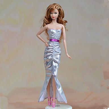 1a874f4a7 Accesorios para muñecas · Vestidos Una Sola Pieza por Barbiedoll Plata  Textil   Satén Elástico Vestido por Chica de muñeca