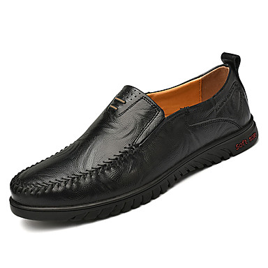 בגדי ריקוד גברים מוקסין עור אביב / סתיו נעליים ללא שרוכים שחור / חום בהיר / חום כהה