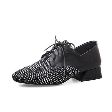 בגדי ריקוד נשים נעליים עור אביב נוחות נעלי אוקספורד עקב קובני בוהן מחודדת שחור
