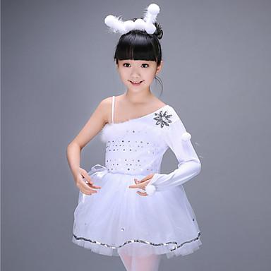 בלט שמלות בנות הדרכה פוליאסטר דוגמא \ הדפס / מפרק מפוצל / Paillette שרוול ארוך גבוה שמלה