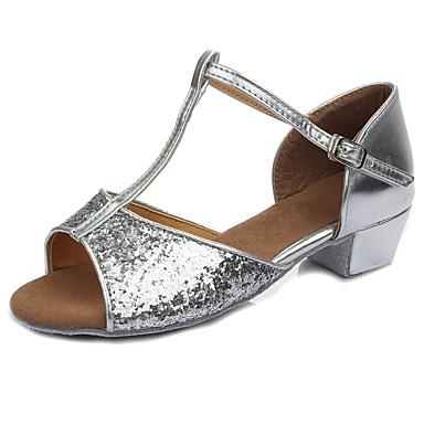 נעליים לטיניות Paillette / דמוי עור סנדלים / עקבים אבזם / Paillette עקב עבה מותאם אישית נעלי ריקוד כסף