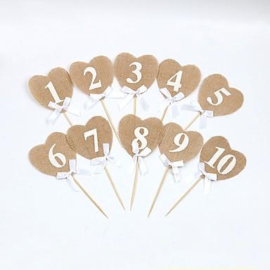 כרטיסי מספר שולחן עץ / יוטה קישוטי חתונה חתונה / מסיבה\אירוע ערב נושא קלאסי / נושא וינטג כל העונות