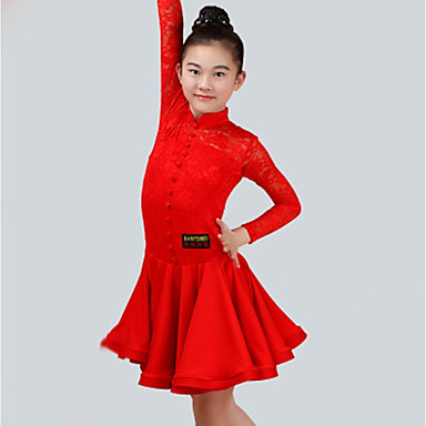 fdff997a1e8d Latin Dance Dresses Girls  Performance Spandex Lace Lace Ruching ...