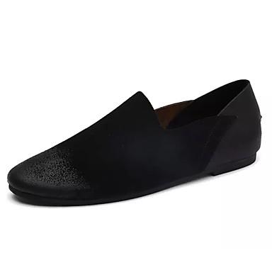 בגדי ריקוד גברים עור נובוק אביב / סתיו נוחות נעליים ללא שרוכים שחור / חאקי