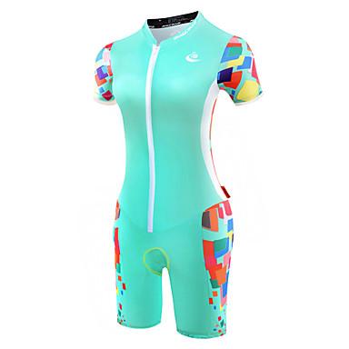 Malciklo Women's Short Sleeve Triathlon Tri Suit - Mint Green Bike Breathable Anatomic Design Reflective Strips Sweat-wicking Sports Polyester Spandex Coolmax® Geometry Clothing Apparel / Lycra
