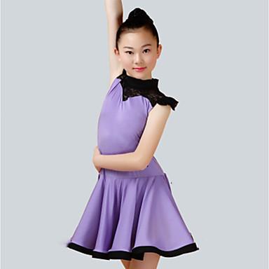 ריקוד לטיני שמלות בנות הצגה ספנדקס סלסולים ללא שרוולים שמלה