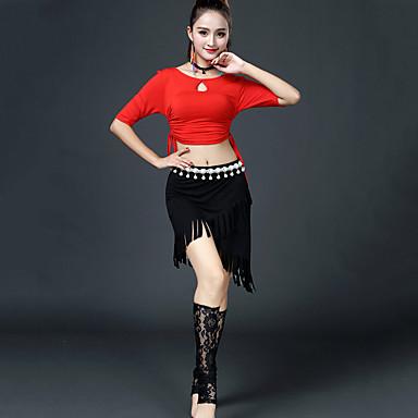 ריקוד לטיני תלבושות בגדי ריקוד נשים הדרכה צורני סגנון רצועות תחבושות חצי שרוול נפול חצאיות
