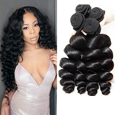 4 Bundles Brazilian Hair Loose Wave 8A Natural Color Hair Weaves   Hair  Bulk Extension 8-28 inch Human Hair Weaves Human Hair Extensions Women s 3864de88b0