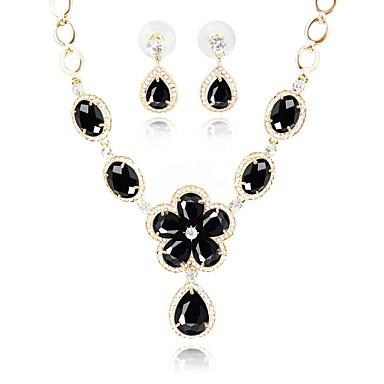 בגדי ריקוד נשים סט תכשיטים - ציפוי זהב קלסי, אופנתי לִכלוֹל שרשרת שחור עבור חתונה / Party