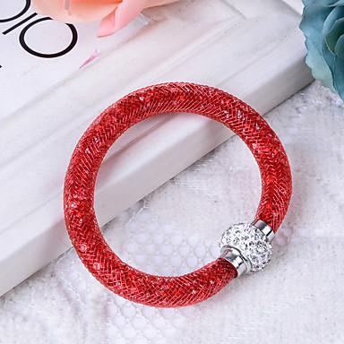 abordables Bracelet-Bracelet Jonc Femme Diamant synthétique Résine Imitation Diamant dames Basique Bracelet Bijoux Gris Rouge Champagne Forme de Tube pour Cadeau Quotidien